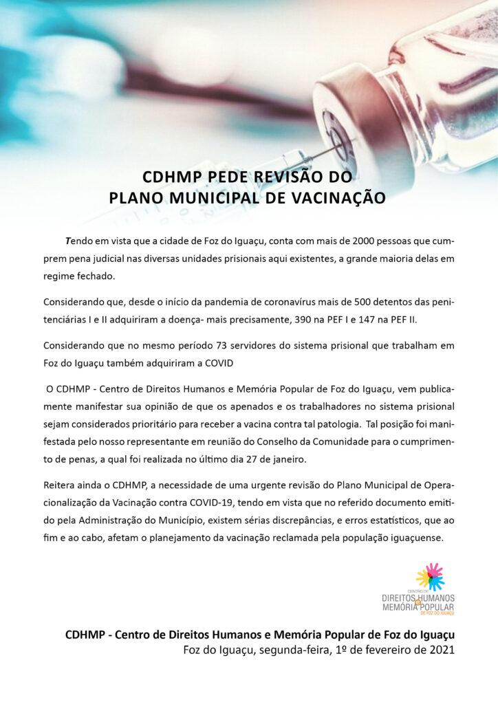 CDHMP PEDE REVISÃO DO PLANO MUNICIPAL DE VACINAÇÃO